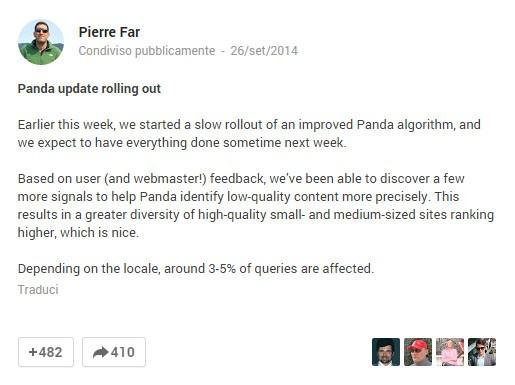 Nuovo aggiornamento Google Panda: cosa aspettarci dal 4.1?